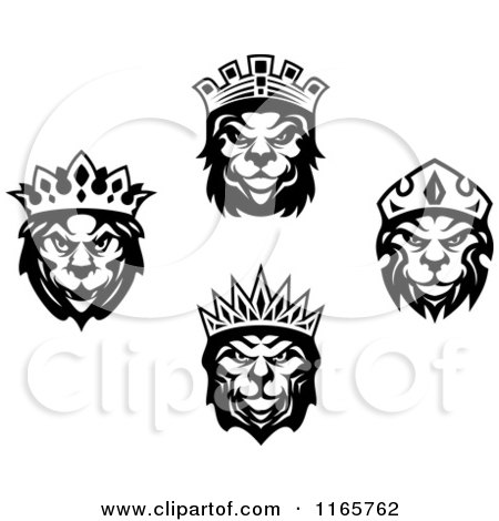 Clipart of Black and White Heraldic Lions with Crowns - Royalty Free Vector Illustration by Vector Tradition SM