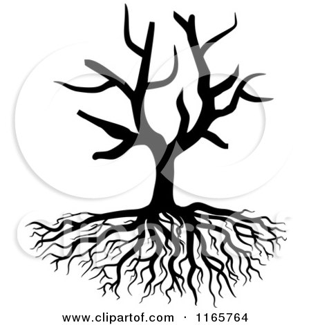 Clipart of a Black and White Bare Tree and Roots - Royalty Free Vector Illustration by Vector Tradition SM