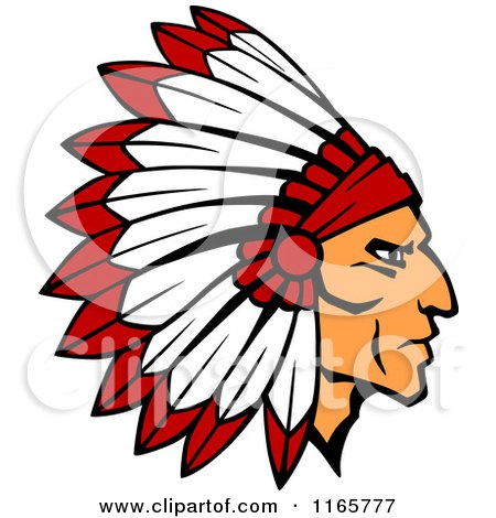 Clipart of a Native American Brave with a Red and White Feather Headdress 2 - Royalty Free Vector Illustration by Vector Tradition SM