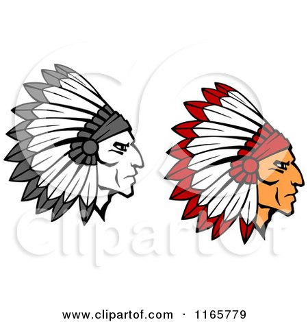 Clipart of Native American Braves with Feathered Headdresses 2 - Royalty Free Vector Illustration by Vector Tradition SM