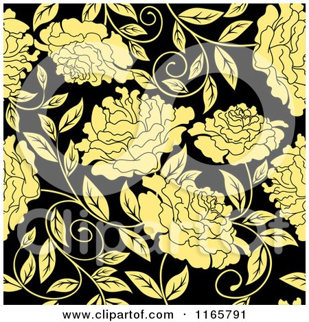 Clipart of a Seamless Pattern of Yellow Flowers on Black - Royalty Free Vector Illustration by Vector Tradition SM