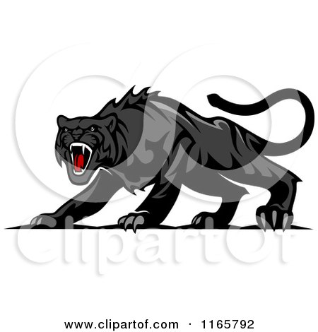 Clipart of an Aggressive Black Panther - Royalty Free Vector Illustration by Vector Tradition SM