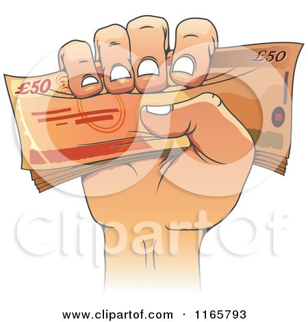 Clipart of a Cartoon Hand Holding Fifty Pound Euro Cash - Royalty Free Vector Illustration by Vector Tradition SM