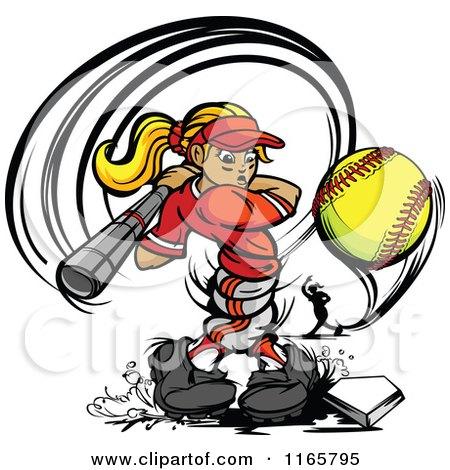 Strong Female Baseball Player Swinging and Hitting a Softball Posters, Art Prints