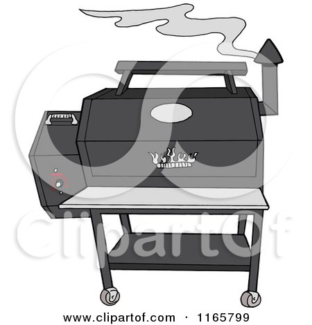 Cartoon of a Smoking Grey Pellet Grill - Royalty Free Vector Clipart by LaffToon