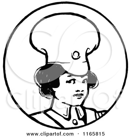 Clipart of a Retro Vintage Black and White Soldier Girl in a Circle - Royalty Free Vector Illustration by Prawny Vintage