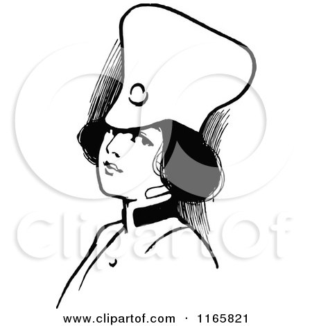 Clipart of a Retro Vintage Black and White Soldier Girl - Royalty Free Vector Illustration by Prawny Vintage
