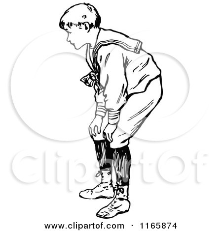 Clipart Of A Retro Vintage Black And White Boy Bending Over