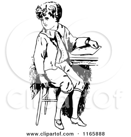 Clipart of a Retro Vintage Black and White Boy Sitting at a Desk - Royalty Free Vector Illustration by Prawny Vintage