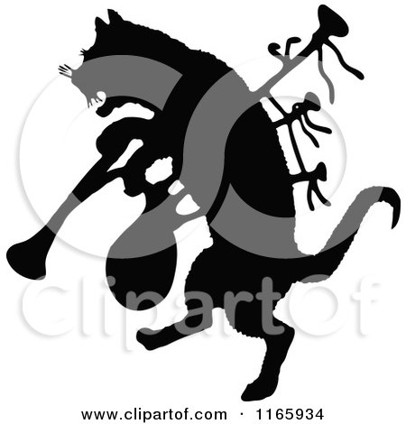 Clipart of a Silhouetted Cat with Bagpipes - Royalty Free Vector Illustration by Prawny Vintage