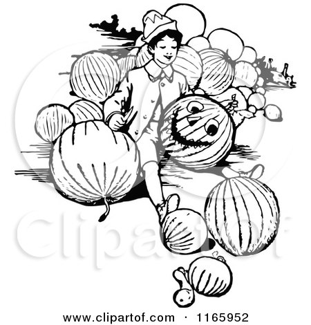 Clipart of a Retro Vintage Black and White Boy Carving a Pumpkin - Royalty Free Vector Illustration by Prawny Vintage