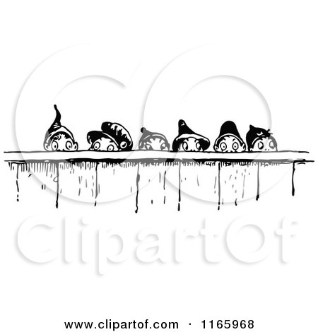 Clipart of a Retro Vintage Black and White Group of Gnome Boys Looking over a Fence - Royalty Free Vector Illustration by Prawny Vintage