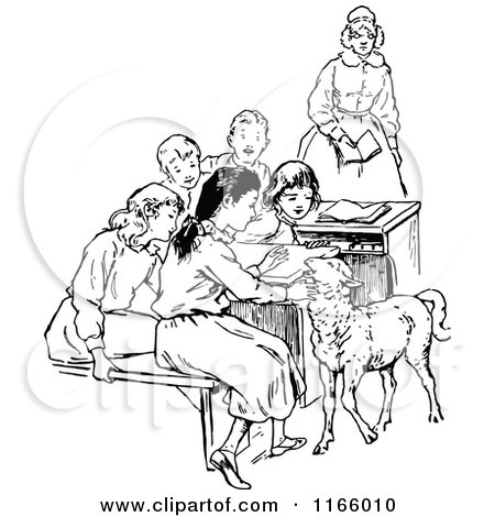 Clipart of a Retro Vintage Black and White Teacher Students and Lamb 2 - Royalty Free Vector Illustration by Prawny Vintage
