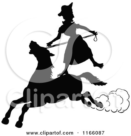 Clipart of a Silhouetted Woman Standing on a Horse - Royalty Free Vector Illustration by Prawny Vintage