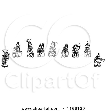 Clipart of a Retro Vintage Black and White Group of Boys Playing Instruments - Royalty Free Vector Illustration by Prawny Vintage