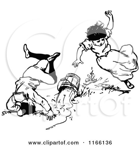 Clipart Of Retro Vintage Black And White Jack And Jill Tumbling