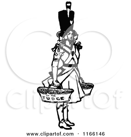 Clipart of a Retro Vintage Black and White Soldier Girl Selling Fudge - Royalty Free Vector Illustration by Prawny Vintage
