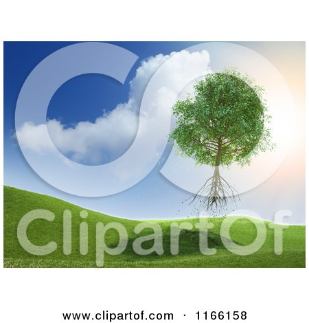Clipart of a 3d Uprooted Tree Floating Away into the Sky - Royalty Free CGI Illustration by Mopic