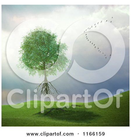 Clipart of a 3d Uprooted Tree Floating Away with a Flock of Birds in a Storm - Royalty Free CGI Illustration by Mopic