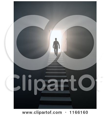 Clipart of a 3d Silhouetted Man Walking up Stairs to an Open Door with Bright Light 3 - Royalty Free CGI Illustration by Mopic