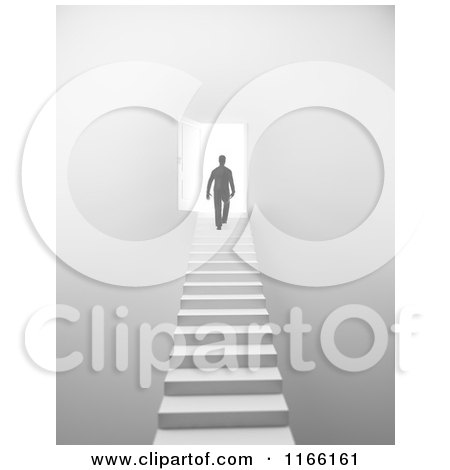 Clipart of a 3d Silhouetted Man Walking up Stairs to an Open Door with Bright Light - Royalty Free CGI Illustration by Mopic