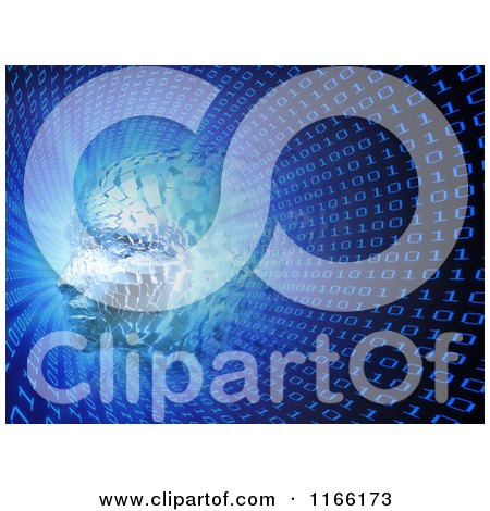 Clipart of a 3d Head Forming in a Binary Tunnel - Royalty Free CGI Illustration by Mopic