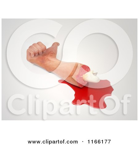 Clipart of a 3d Chopped off Human Arm and Hand with a Thumb up and Blood 2 - Royalty Free CGI Illustration by Mopic