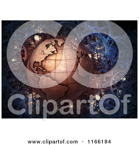 Clipart of a 3d Copper Earth over Gears - Royalty Free CGI Illustration by Mopic