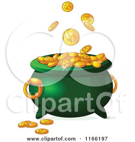 Cartoon Of Gold St Patricks Day Shamrock Coins Falling Into A Leprechaun Pot Royalty Free Vector Clipart