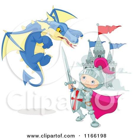 Cartoon of a Knight Boy Battling a Dragon near a Castle - Royalty Free Vector Clipart by Pushkin