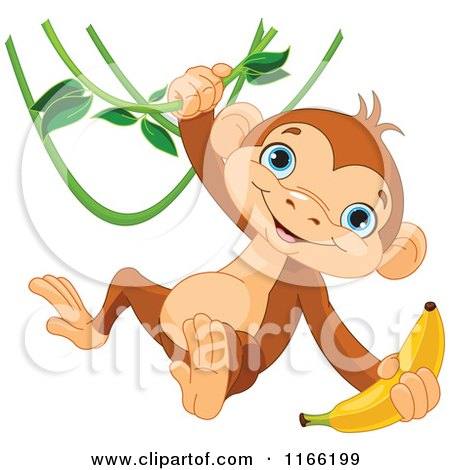Cartoon of a Cute Monkey Swinging from a Vine with a Banana in Hand - Royalty Free Vector Clipart by Pushkin