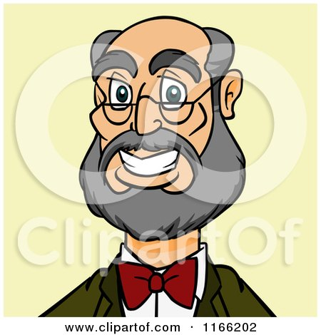 Cartoon of a Bespectacled Man with a Beard Avatar on Green - Royalty Free Vector Clipart by Cartoon Solutions