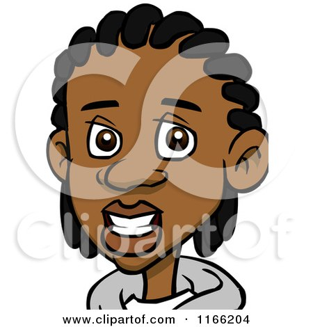 Cartoon of a Black Teenage Boy with Cornrows Avatar - Royalty Free Vector Clipart by Cartoon Solutions