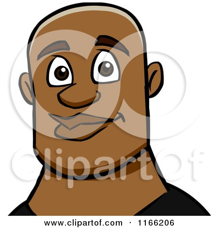 Cartoon of a Bald Black Man Avatar - Royalty Free Vector Clipart by Cartoon Solutions