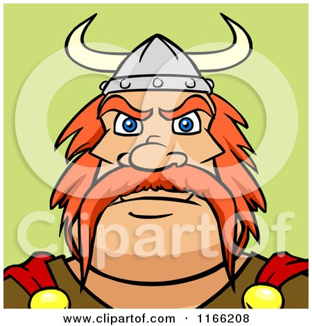 Cartoon of a Viking Man Avatar on Green - Royalty Free Vector Clipart by Cartoon Solutions