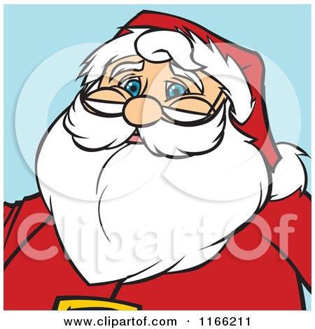 Cartoon of a Santa Christmas Avatar on Blue - Royalty Free Vector Clipart by Cartoon Solutions