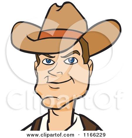 Cartoon of a Cowboy Avatar - Royalty Free Vector Clipart by Cartoon Solutions