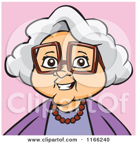 Cartoon of a Granny Woman Avatar on Pink - Royalty Free ...