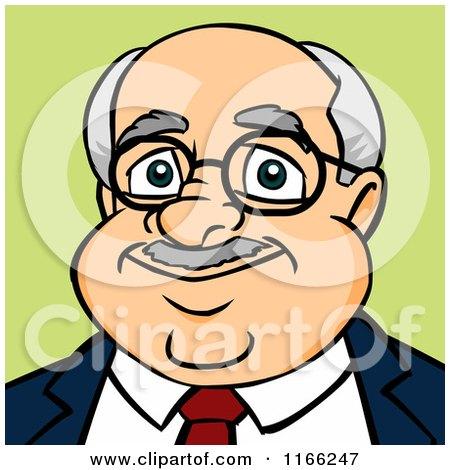 Cartoon of a Bald Businessman Avatar on Green - Royalty Free Vector Clipart by Cartoon Solutions