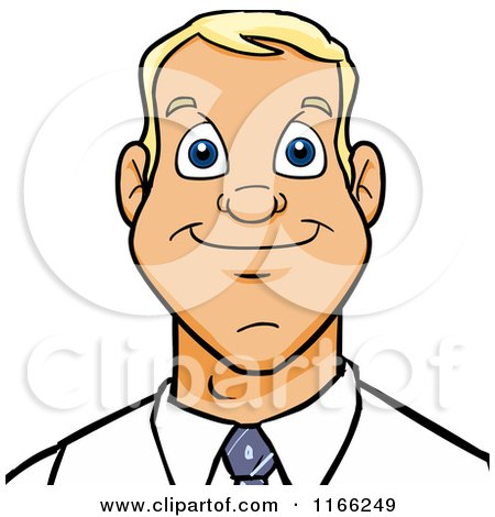 Cartoon of a Blond Business Man Avatar - Royalty Free Vector Clipart by Cartoon Solutions