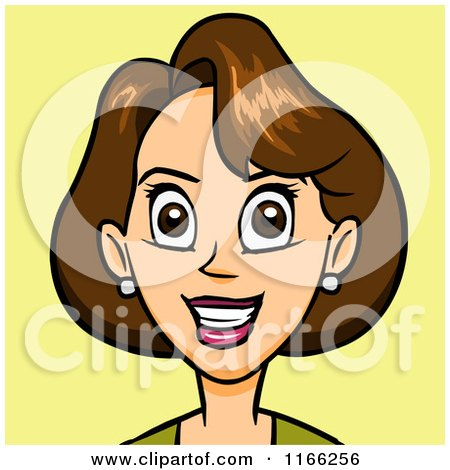 Cartoon of a Brunette Woman Avatar on Yellow - Royalty Free Vector Clipart by Cartoon Solutions