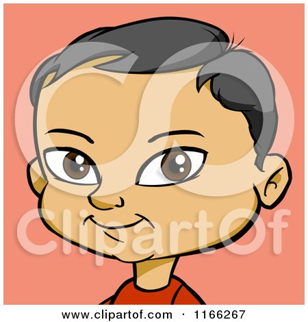 Cartoon of an Asian Boy Avatar over Pink - Royalty Free Vector Clipart by Cartoon Solutions
