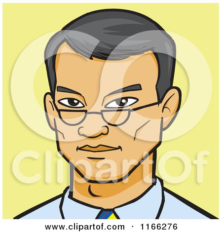 Cartoon of an Asian Business Man Avatar on Yellow - Royalty Free Vector Clipart by Cartoon Solutions