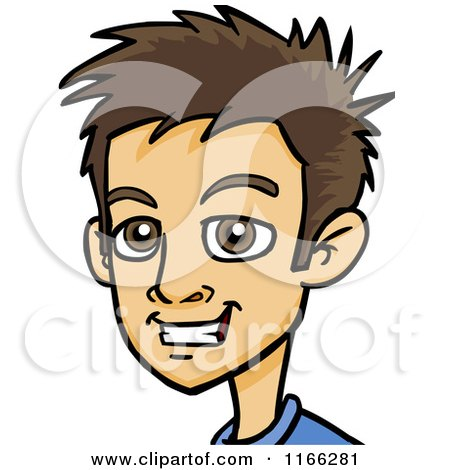 Cartoon of a Young Brunette Man Avatar - Royalty Free Vector Clipart by Cartoon Solutions