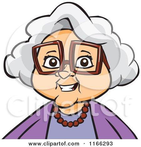 Cartoon of a Granny Woman Avatar - Royalty Free Vector Clipart by Cartoon Solutions