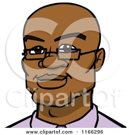 Cartoon of a Bespectacled Bald Black Man Avatar - Royalty Free Vector Clipart by Cartoon Solutions
