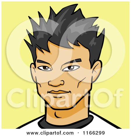 Cartoon of an Asian Man Avatar on Yellow - Royalty Free Vector Clipart by Cartoon Solutions