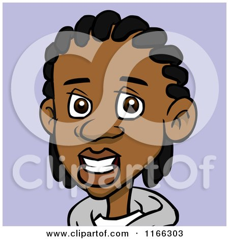 Cartoon of a Black Teenage Boy with Cornrows Avatar on Purple - Royalty Free Vector Clipart by Cartoon Solutions
