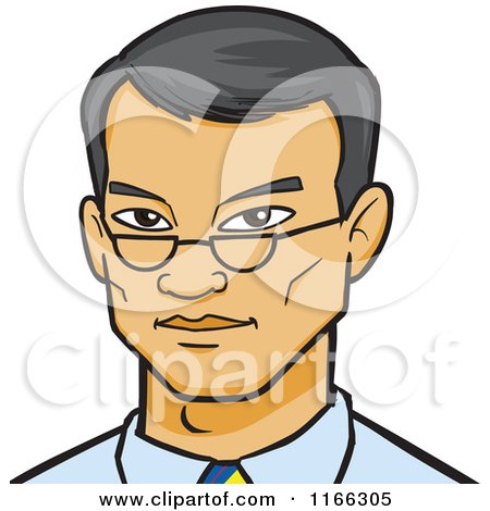 Cartoon of an Asian Business Man Avatar - Royalty Free Vector Clipart by Cartoon Solutions