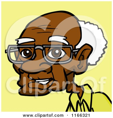 Cartoon of a Senior Black Man Avatar on Yellow - Royalty Free Vector Clipart by Cartoon Solutions
